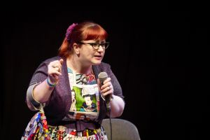 Comedian-in-comic-book-patterned-dress.jpg